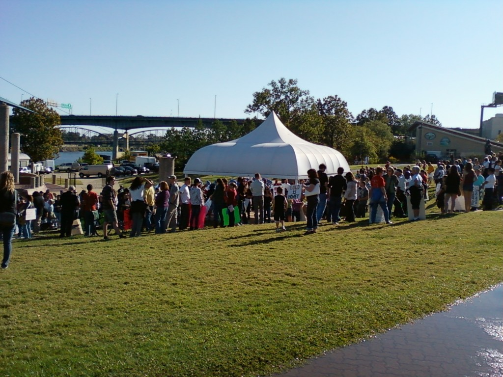 Protesters gather at Riverfront Park prior to the Occupy Little Rock march. (Photo by Sitton)