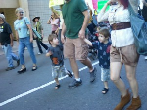 Families brought their kids along on the walk. (photo by Sitton)