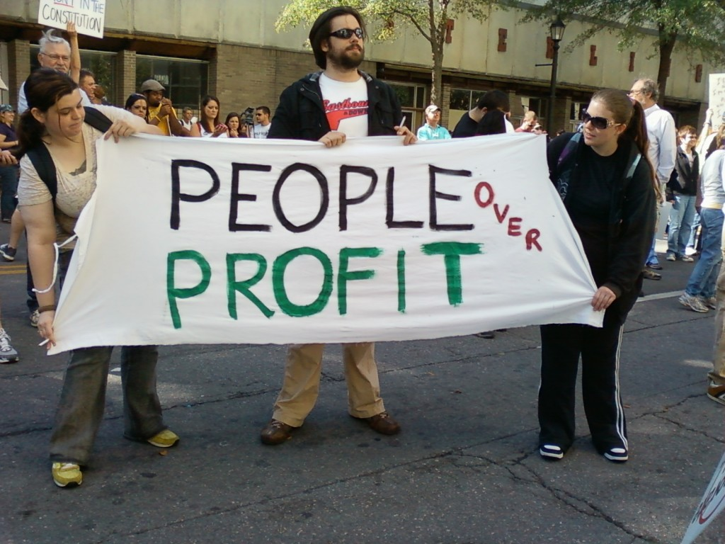 People around the world are showing more concern about corporate greed. (photo by Sitton)