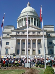 Occupy Little Rock protesters gather in front of the State Capitol. (photo by Sitton)