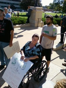 The Occupy Little Rock protest was not limited to the able-bodied. (photo by Sitton)