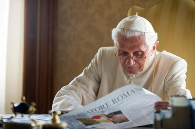 benedict reading the paper